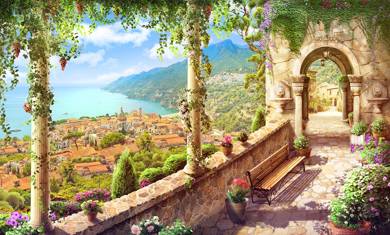 18 Средиземноморский город и море с террасы