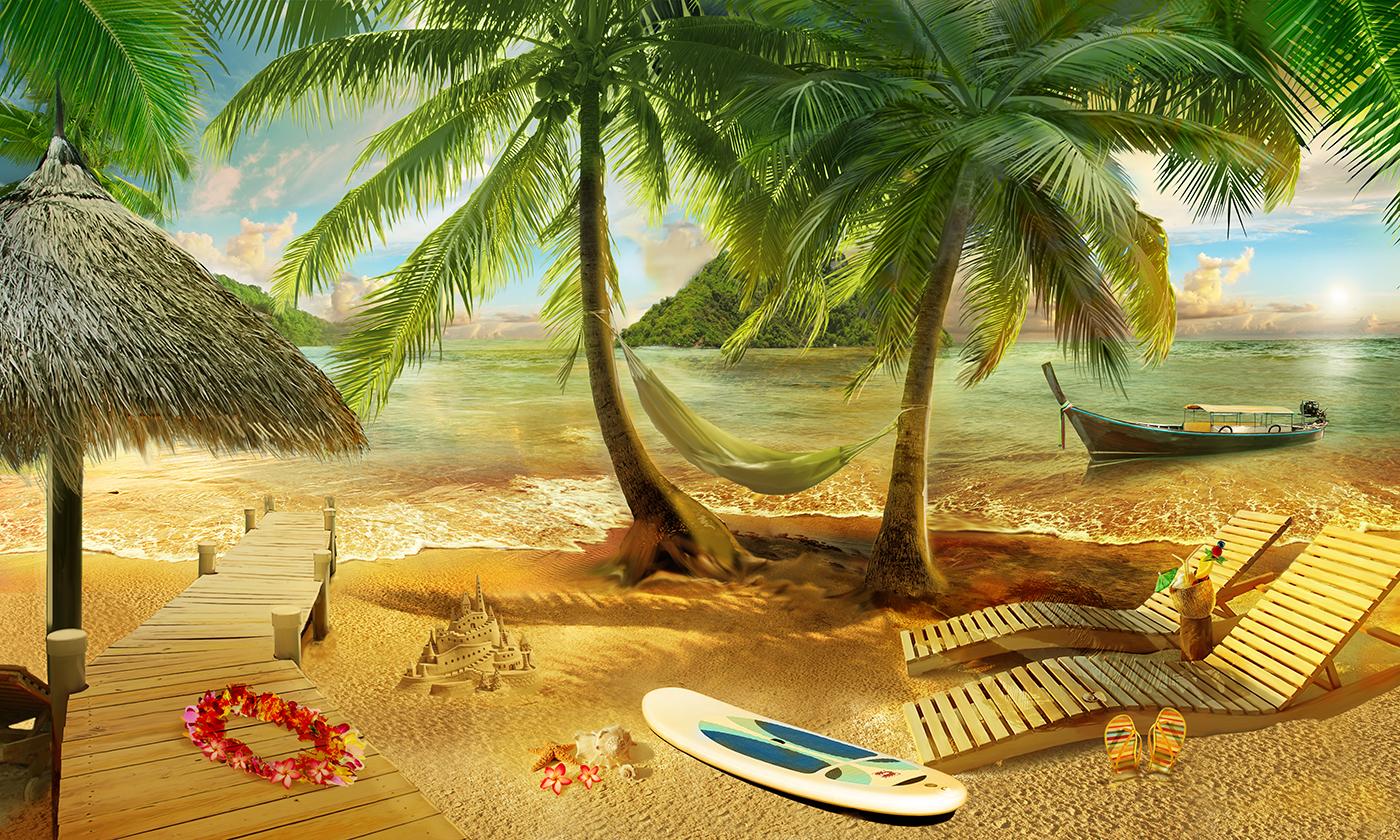 2 Пляж под пальмами