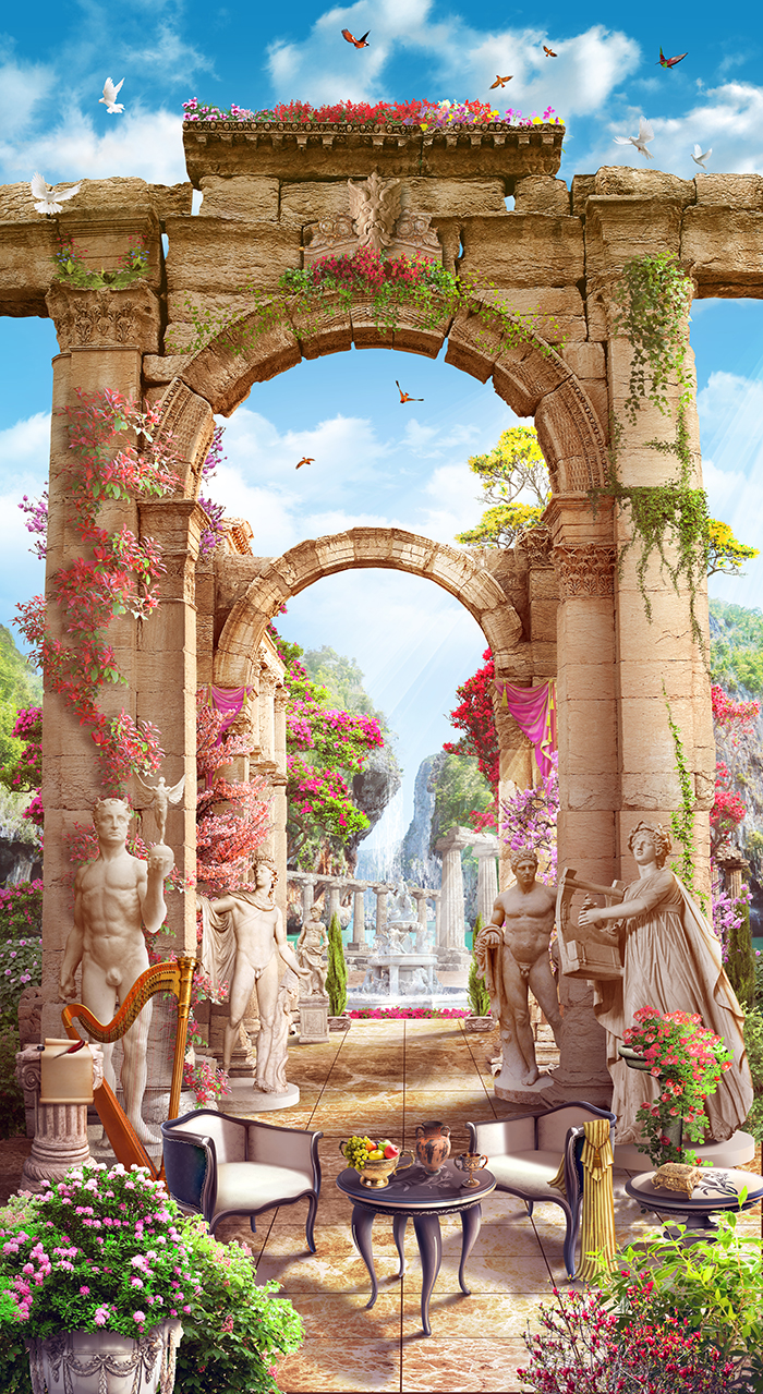 27 Античный сад со статуями и арками