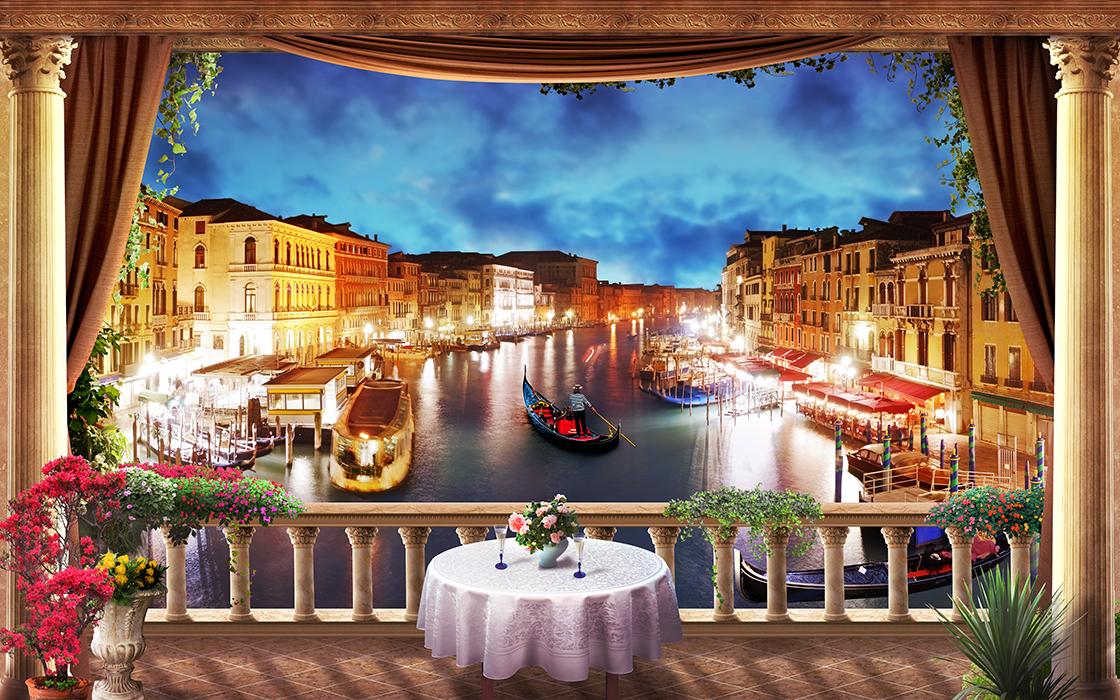 31 Ресторан с видом на ночную Венецию