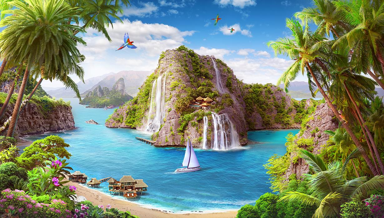 33 Тропический остров с водопадами