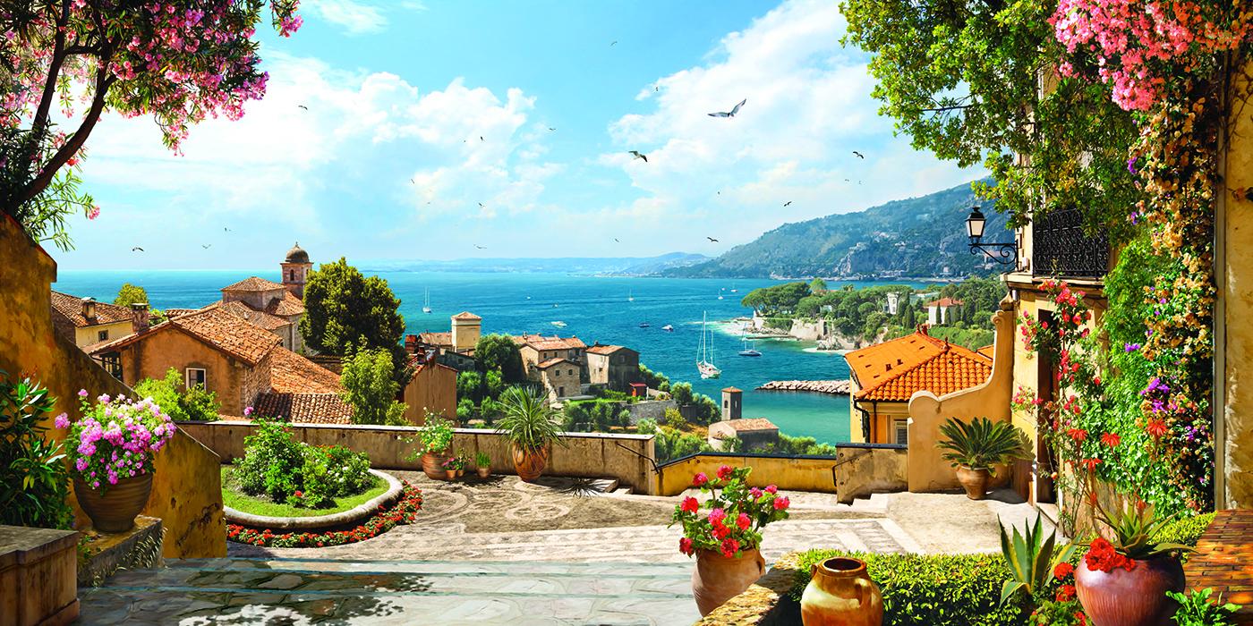 4 Панорамный вид на море с цветущей террасы