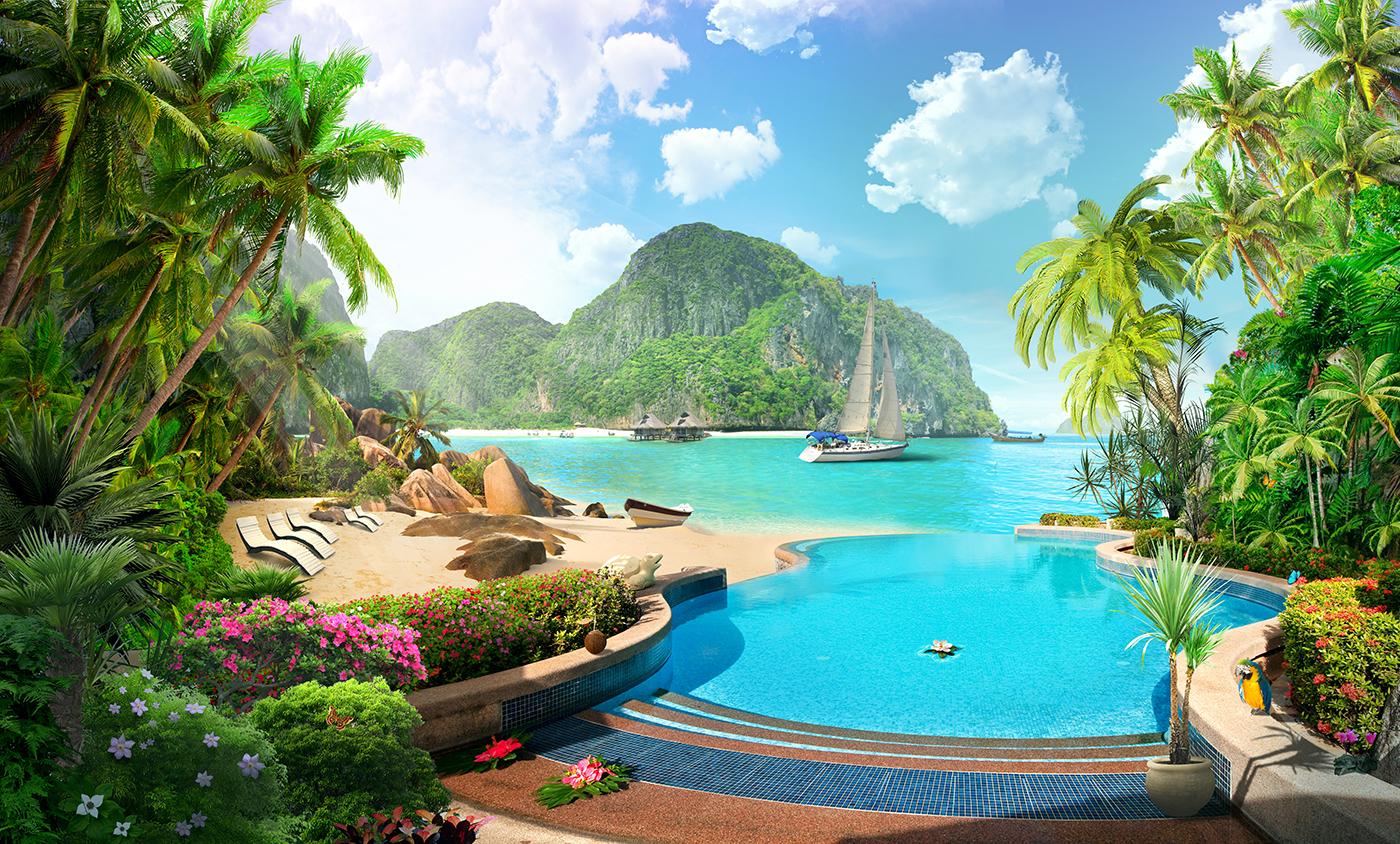 5 Пляж с островами