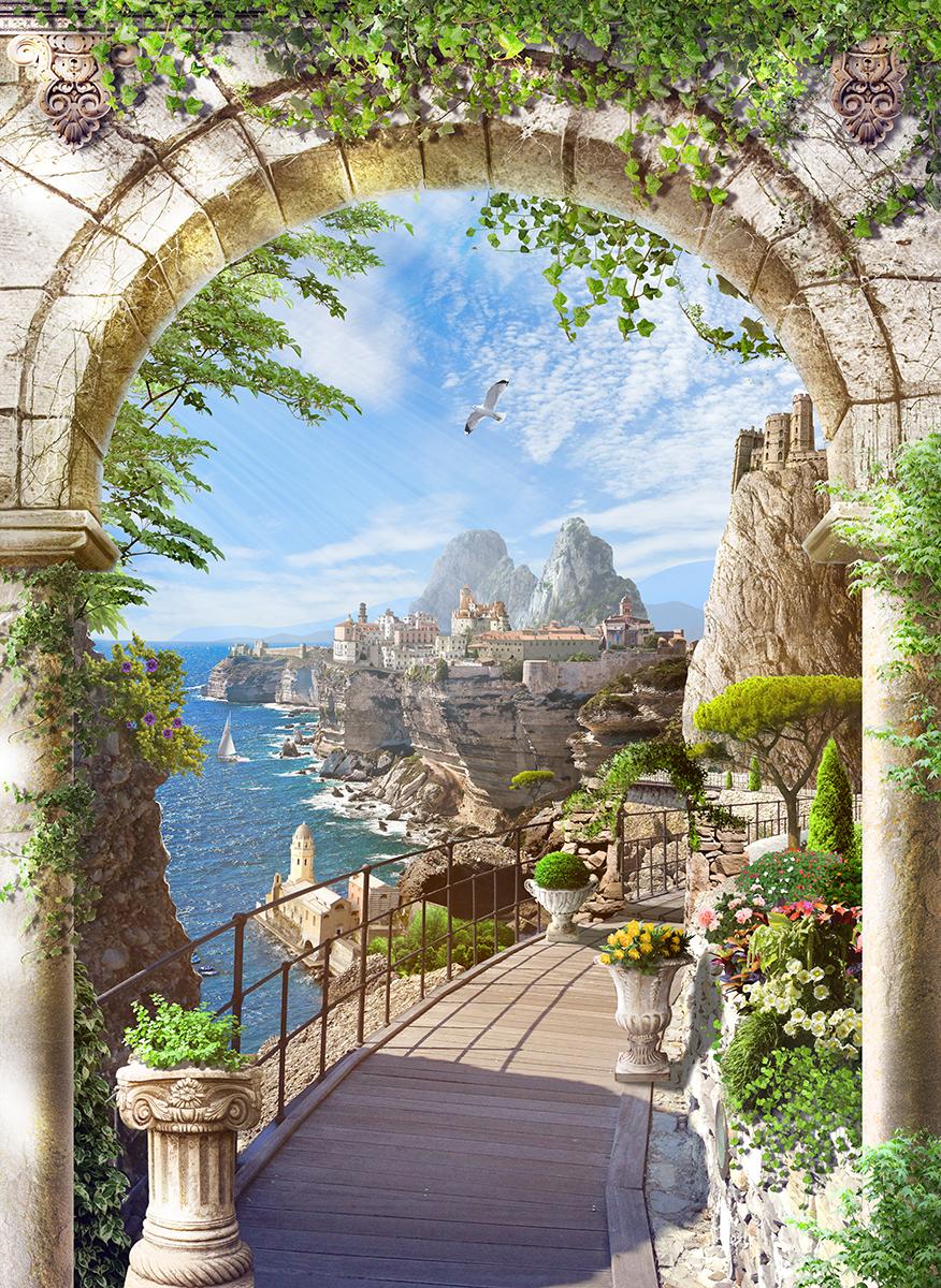 9 Средиземноморский пейзаж в каменной арке